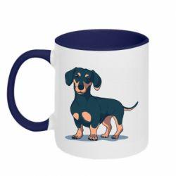 Кружка двухцветная 320ml Cute dachshund
