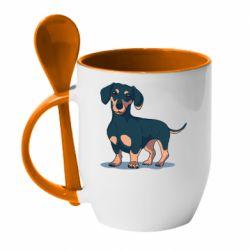 Кружка с керамической ложкой Cute dachshund