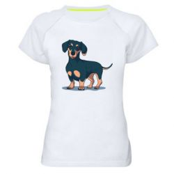 Женская спортивная футболка Cute dachshund