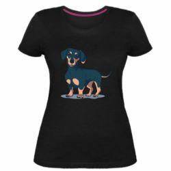 Женская стрейчевая футболка Cute dachshund