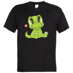 Чоловіча футболка з V-подібним вирізом Cute dinosaur
