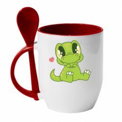 Кружка з керамічною ложкою Cute dinosaur
