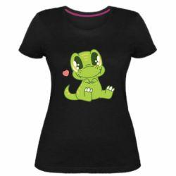 Жіноча стрейчева футболка Cute dinosaur