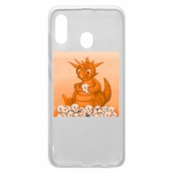 Чохол для Samsung A20 Cute dragon with skulls