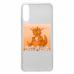 Чохол для Samsung A70 Cute dragon with skulls