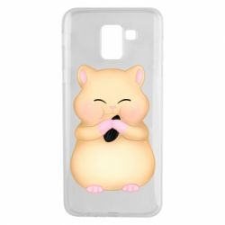 Чохол для Samsung J6 Cute hamster with sunflower seed