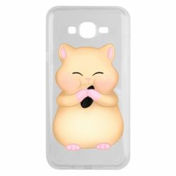 Чохол для Samsung J7 2015 Cute hamster with sunflower seed