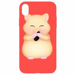 Чохол для iPhone XR Cute hamster with sunflower seed