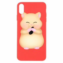 Чохол для iPhone Xs Max Cute hamster with sunflower seed