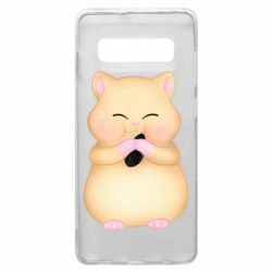 Чохол для Samsung S10+ Cute hamster with sunflower seed