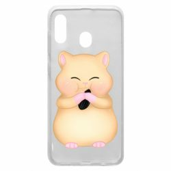Чохол для Samsung A20 Cute hamster with sunflower seed