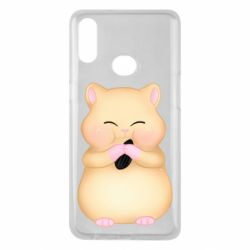 Чохол для Samsung A10s Cute hamster with sunflower seed