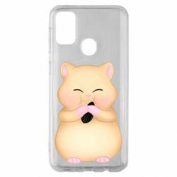 Чохол для Samsung M30s Cute hamster with sunflower seed