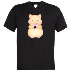 Чоловіча футболка з V-подібним вирізом Cute hamster with sunflower seed