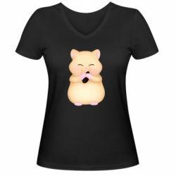 Жіноча футболка з V-подібним вирізом Cute hamster with sunflower seed