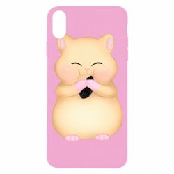 Чохол для iPhone X/Xs Cute hamster with sunflower seed
