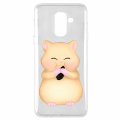 Чохол для Samsung A6+ 2018 Cute hamster with sunflower seed