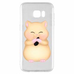 Чохол для Samsung S7 EDGE Cute hamster with sunflower seed