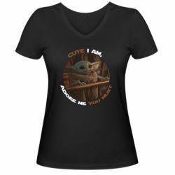 Женская футболка с V-образным вырезом Cute i am, adore me you must