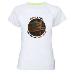 Женская спортивная футболка Cute i am, adore me you must