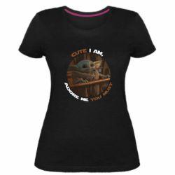 Женская стрейчевая футболка Cute i am, adore me you must
