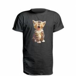 Подовжена футболка Cute kitten vector