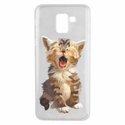 Чохол для Samsung J6 Cute kitten vector