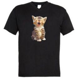 Чоловіча футболка з V-подібним вирізом Cute kitten vector