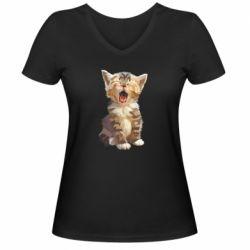 Жіноча футболка з V-подібним вирізом Cute kitten vector