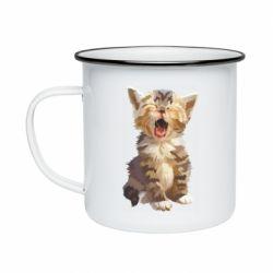 Кружка емальована Cute kitten vector