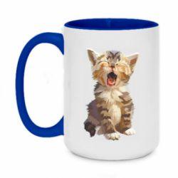 Кружка двоколірна 420ml Cute kitten vector