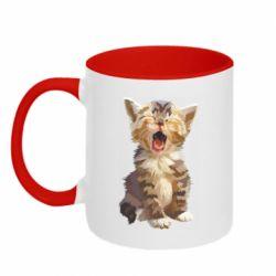 Кружка двоколірна 320ml Cute kitten vector