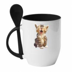 Кружка з керамічною ложкою Cute kitten vector
