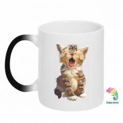 Кружка-хамелеон Cute kitten vector