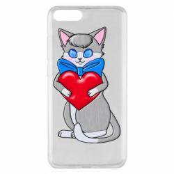 Чехол для Xiaomi Mi Note 3 Cute kitten with a heart in its paws