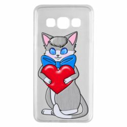 Чехол для Samsung A3 2015 Cute kitten with a heart in its paws