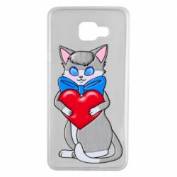 Чехол для Samsung A7 2016 Cute kitten with a heart in its paws