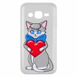 Чехол для Samsung J2 2015 Cute kitten with a heart in its paws