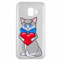 Чехол для Samsung J2 2018 Cute kitten with a heart in its paws