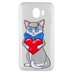 Чехол для Samsung J4 Cute kitten with a heart in its paws