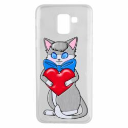 Чехол для Samsung J6 Cute kitten with a heart in its paws