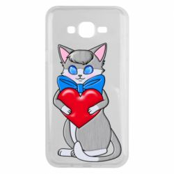 Чехол для Samsung J7 2015 Cute kitten with a heart in its paws