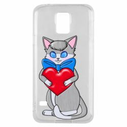 Чехол для Samsung S5 Cute kitten with a heart in its paws