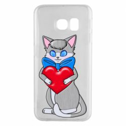 Чехол для Samsung S6 EDGE Cute kitten with a heart in its paws