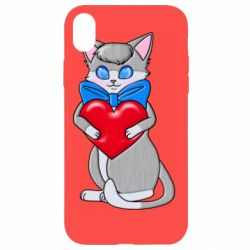 Чехол для iPhone XR Cute kitten with a heart in its paws