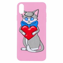 Чехол для iPhone Xs Max Cute kitten with a heart in its paws