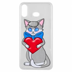 Чехол для Samsung A6s Cute kitten with a heart in its paws