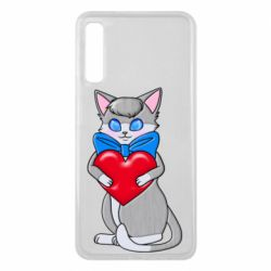 Чехол для Samsung A7 2018 Cute kitten with a heart in its paws