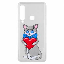 Чехол для Samsung A9 2018 Cute kitten with a heart in its paws