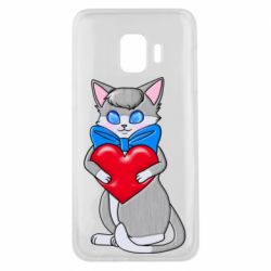 Чехол для Samsung J2 Core Cute kitten with a heart in its paws